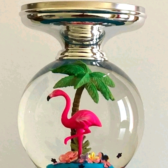 BBW Flamingo Water Globe Candle Holder Pedestal